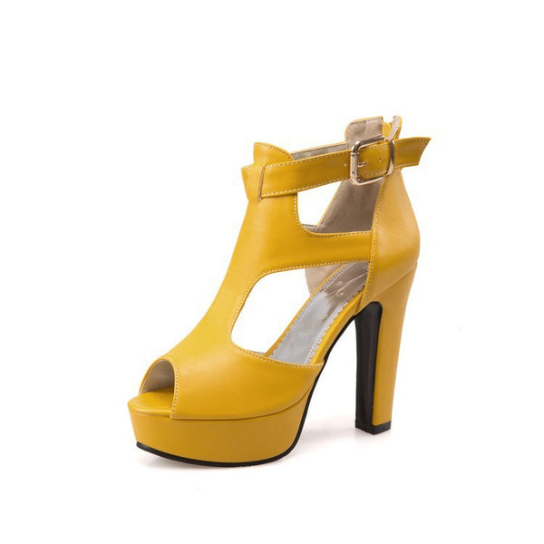 Women's T Straps Platform Sandals High Heels Shoes 3567