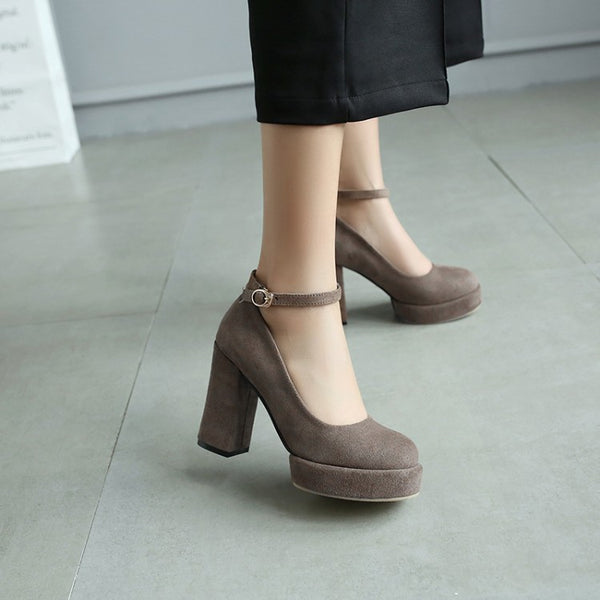 Ankle Straps Platform Pumps Women High Heels Shoes 3356