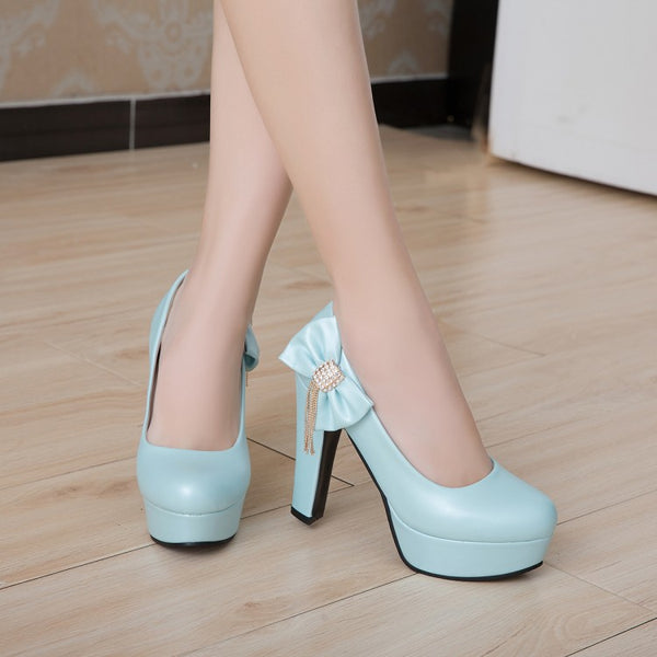 Rhinestone Platform Pumps Women High Heels Shoes 7374