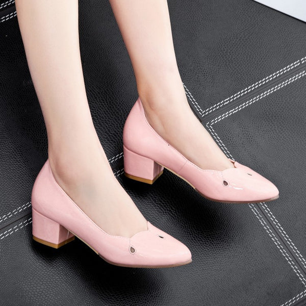 Hollow Out Women Mid Chunky Heels Shoes 1770
