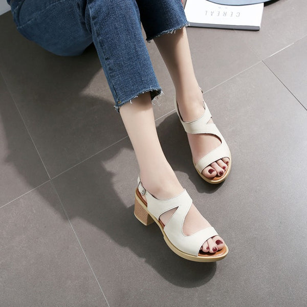 Open Toe Platform Sandals Chunky Heels Shoes Woman 8465
