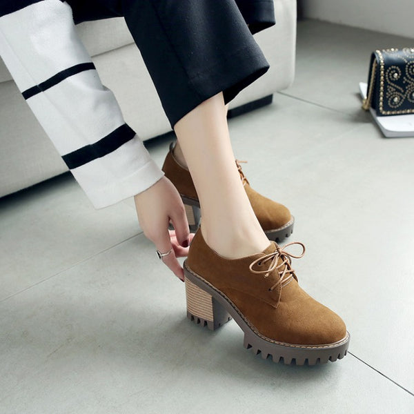 Lace Up Flock Platform Chunky High Heel Shoes Woman 1357
