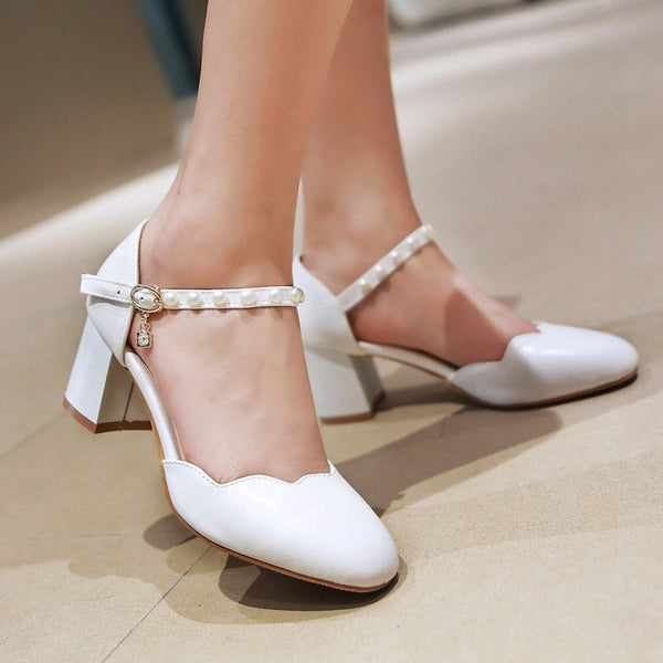 Ankle Strap Pearl Sandals Chunky Heels Pumps Shoes Woman 2238