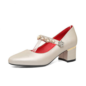 Pearl Mary Janes Women Heels Dress Shoes 6782