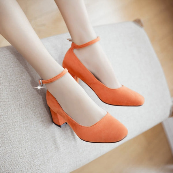 Ankle Straps Women Chunky Heel Pumps Dress Shoes 8356
