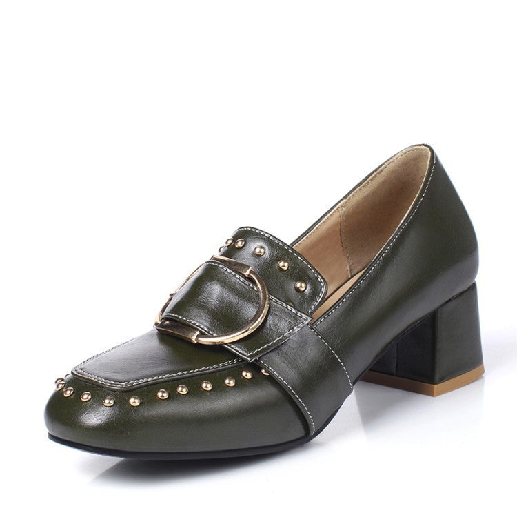 Studded Buckle Women Heels Dress Shoes 3568