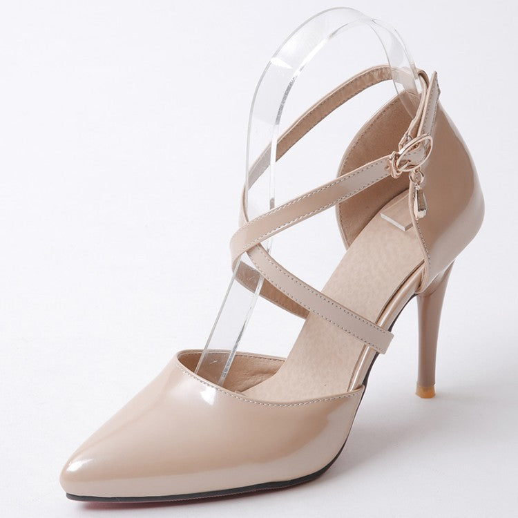 Women's Ankle Straps Pointed Toe High Heels Shoes 4112