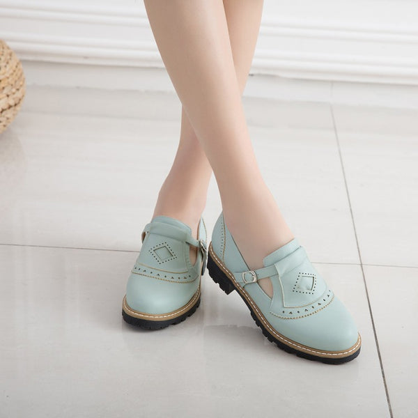 Round Toe Belt Buckle Women Heels Shoes 6462
