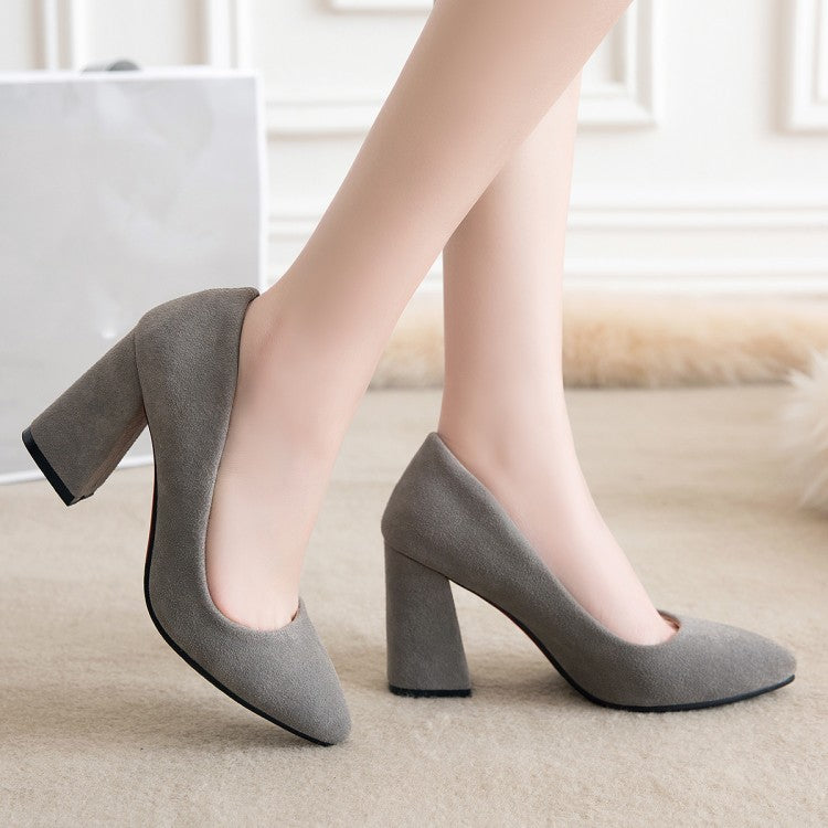 Pointed Toe Suede Chunky Heel Pumps Women High Heels Shoes 7297