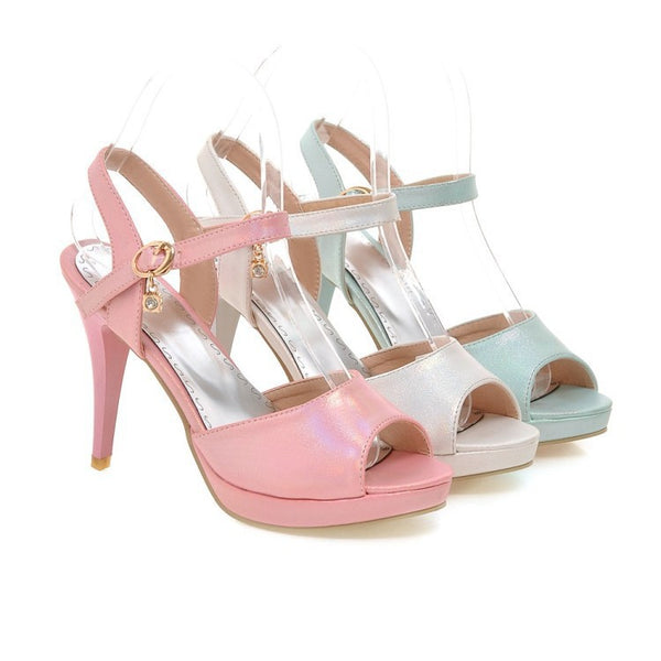 Women's Ankle Straps Open Toe Sandals High Heels Shoes 8979