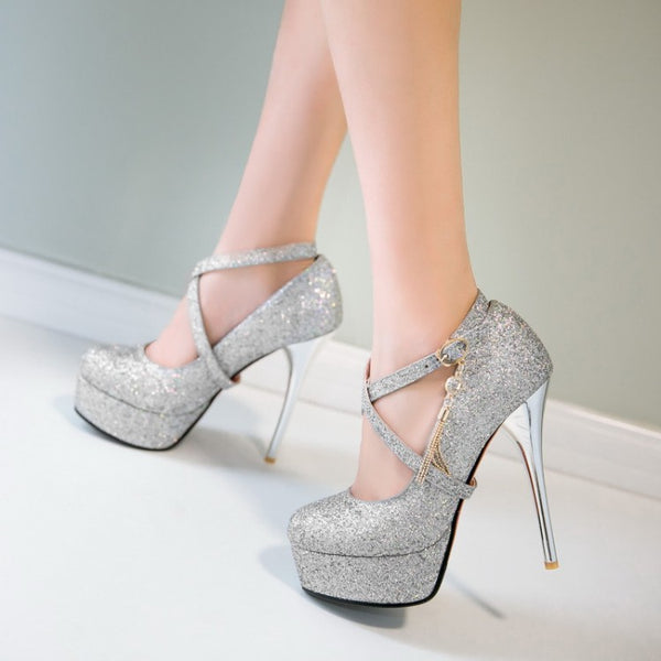 Sequined Platform Pumps High Heel Wedding Shoes Woman 9477