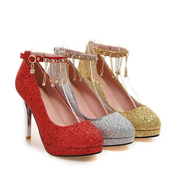 Ankle Straps Rhinestone High Heel Stiletto Heels Shoes Woman 8991