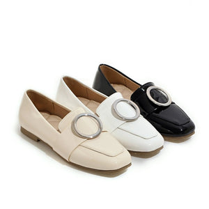 Square Toe Metal Circle Women Flat Shoes 3227