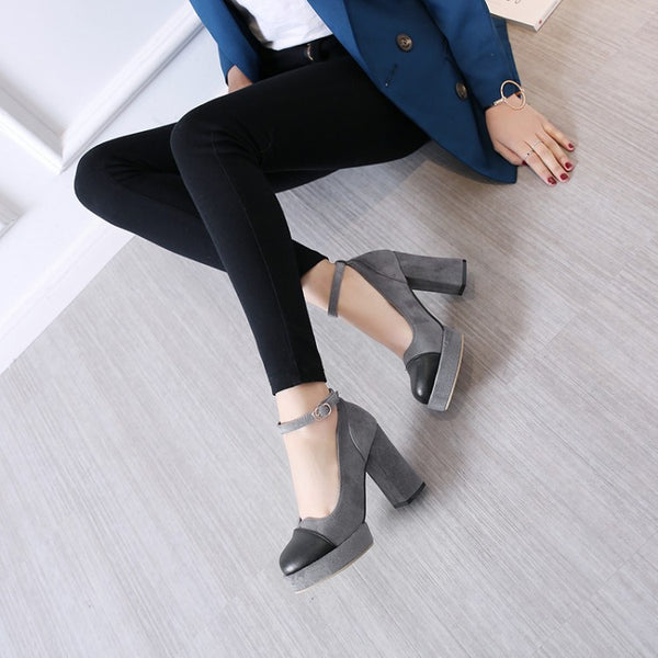 Round Toe Women's Chunky High Heel Platform Pumps Shoes 5565