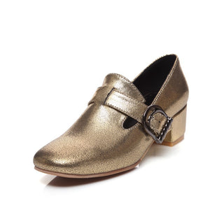 Buckle Women Mid Heels Dress Shoes 5948