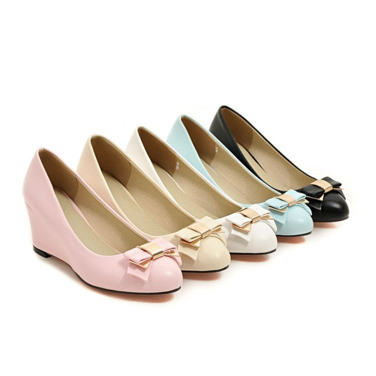 Bow Platform Wedges Heels Shoes for Women 7795