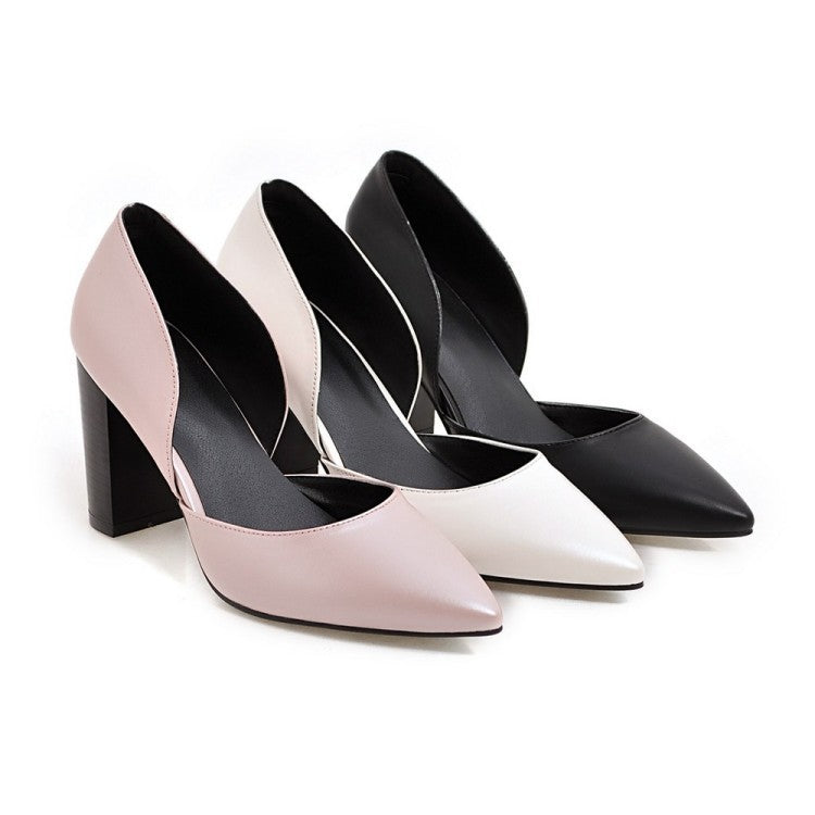 Pointed Toe Pumps Women Chunky High Heels Shoes 9725