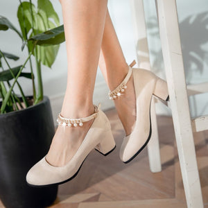 Ankle Straps Pearl Women Heels Dress Shoes 4597