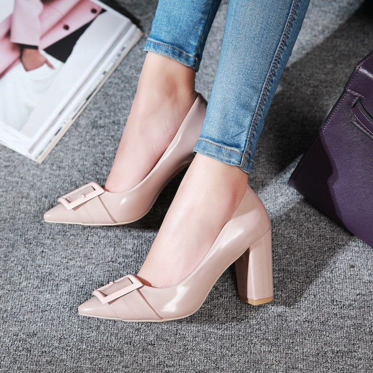 Pointed Toe Chunky Heel Pumps Women High Heels Shoes 6153