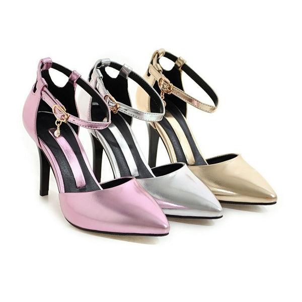 Pointed Toe Ankle Strap Stiletto High Heels Sandals Pumps Women Shoes 6285