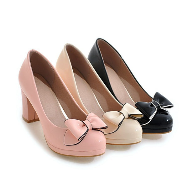 Patent Leather Bow Tie High Heeled Platform Heels Shoes for Women 6723