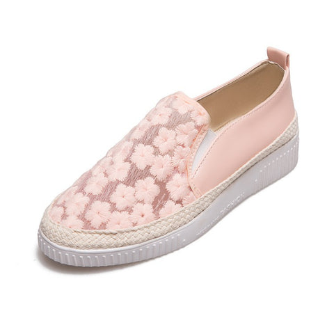 Flower Lace Women Flat Platform Shoes 4937