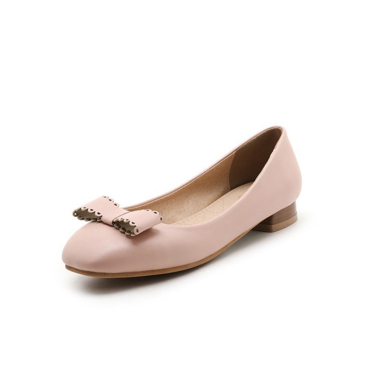 Square Toe Bow Women Flat Shoes 7974