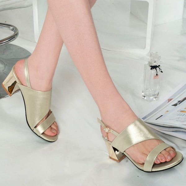 Women's Ankle Straps Sandals Chunky Heels Shoes 7883