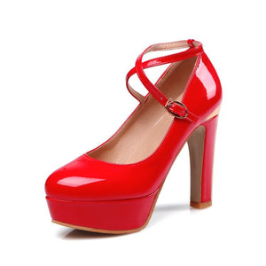 Women's Ankle Straps Platform Thick High Heels Shoes 4949