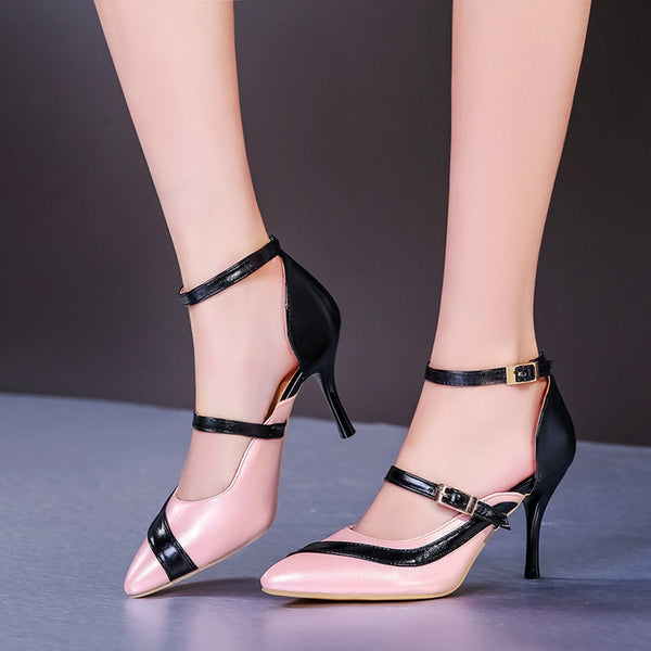 Pointed Toe Mix Color Ankle Strap Stiletto High Heels Sandals Pumps Women Shoes 3153