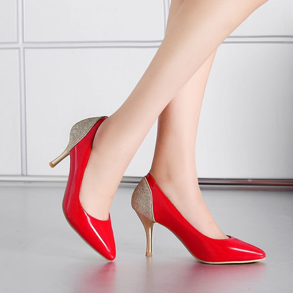 Pointed Toe Glitter Pumps Women High Heels Shoes 5838