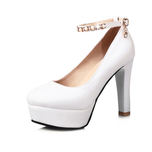 Ankle Straps Pearl Platform High Heel Shoes Woman 9447