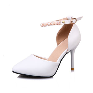 Pointed Toe Ankle Strap Pearl Stiletto High Heels Sandals Pumps Women Shoes 9994