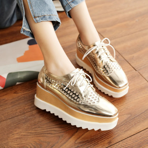 Lace Up Hollow Out Platform Wedges Heels Shoes for Women 4748