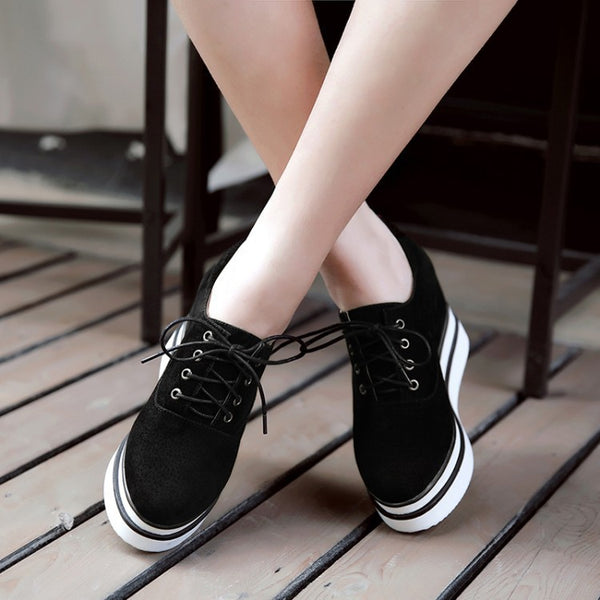 Lace Up Wedges Heels Platform Shoes for Women 9362