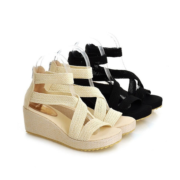 Women Gladiator Sandals Platform Wedge Heels Shoes for Summer 7666