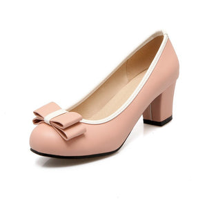 Women's Bow Chunky Heel Pumps Shoes 3965