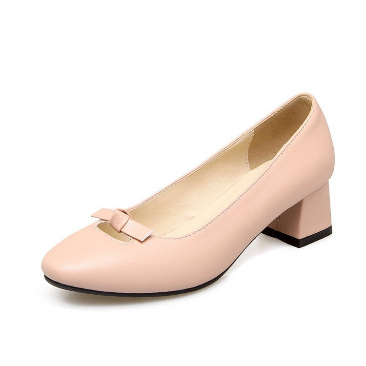 Square Toe Bow Medium Chunky Heel Shoes for Woman 1247