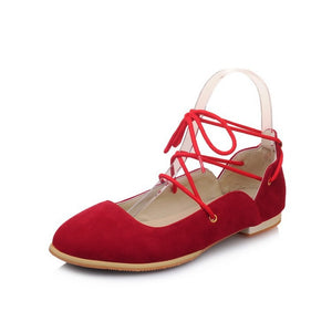 Strappy Suede Women Flat Shoes 5053