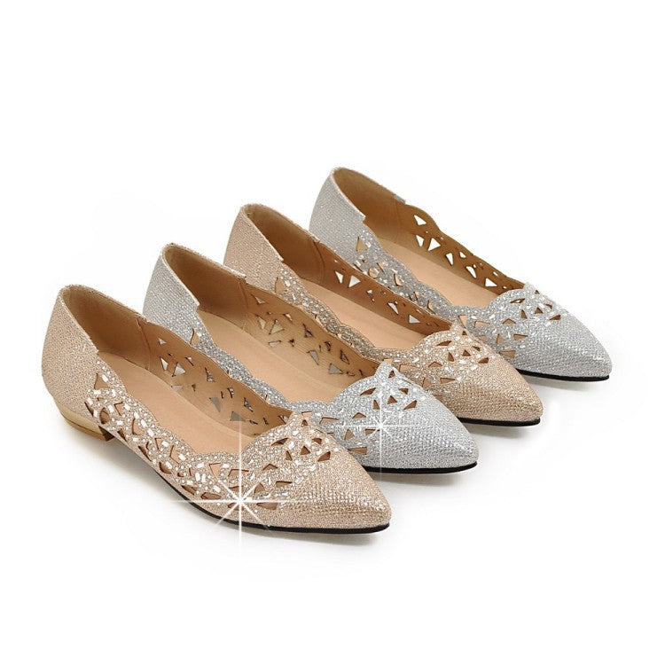 Pointed Toe Sequin Women Flat Shoes 7811