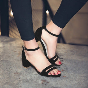 Summer Ankle Straps Chunky Heels Sandals for Women Shoes MF8877