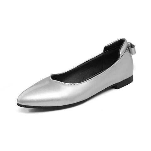 Pointed Toe Back Bowtie Women Flat Shoes 9499