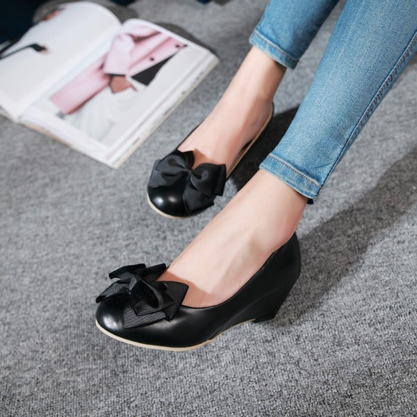 Bow Wedges Heels Shoes for Women 2731
