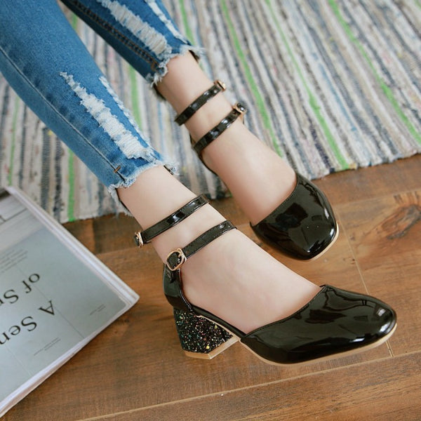Ankle Strap Sequin Sandals Chunky Heels Shoes Woman 9358