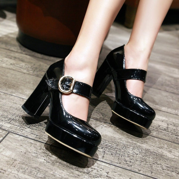 Women's Patent Leather Ankle Straps Platform High Heels Shoes 9113