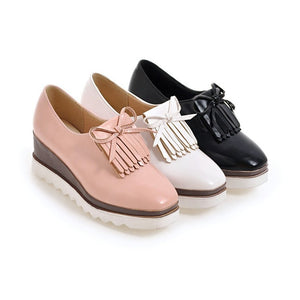 Square Toe Tassel Platform Wedges Heels Shoes for Women 6960