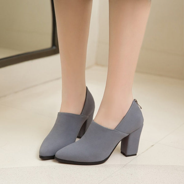 Pointed Toe Suede Chunky High Heels Women Shoes 7825