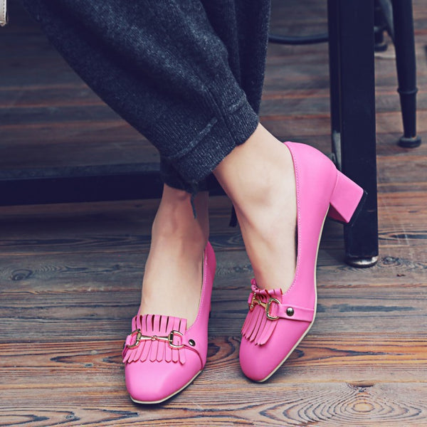 Tassel Women Pumps Mid Chunky Heels Shoes 7703