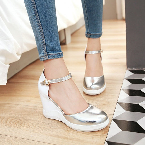 Ankle Strap Toe Covered Women Sandals Wedge Heels Shoes for Summer 2292