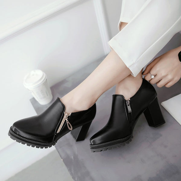 Zipper Chunky High Heel Shoes Woman 7801
